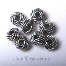 100pcs 6*4mm Beads Tibet Silver Charms DIY Jewelry Bead Round Spacer Bead A7007