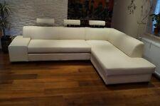 Rindsleder Ecksofa  Echt Leder + Kopfstützen  Sofa Couch Creme Beige Weiß Braun