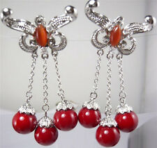 Red Coral Color Shell Pearl Opal Butterfly White Gold Plated Clip-On Earrings