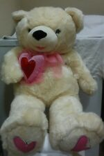 """Mother's or VALENTINE'S DAY GIFT NEW BIG GIANT 33"""" FURRY CREAM PLUSH LOVE BEAR"""
