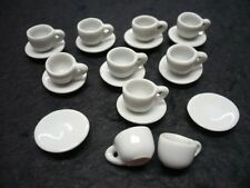 20 Mini White Coffee Cup and Saucer Dollhouse Miniatures Ceramic Supply Deco