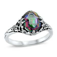 MYSTIC QUARTZ HYDRO ANTIQUE DECO STYLE .925 STERLING SILVER RING SIZE 8,    #439