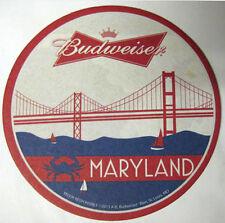 BUDWEISER, BUD LIGHT MARYLAND Beer COASTER, Mat, Anheuser-Busch, MISSOURI c2013