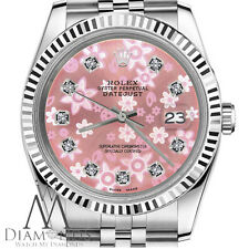 Peach Flower Rolex 26mm Datejust Diamond Jubilee Stainless Steel 18K Watch