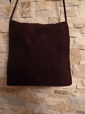 ROBERTO CAVALLI DISTRESSED BROWN SUEDE MENS MESSENGER BAG ITALY