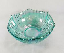 BEAUTIFUL FENTON BLUE IRIDESCENT LARGE CARNIVAL GLASS BOWL FEATHERED PATTERN
