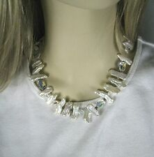 Mother of Pearl Necklace Aurora Borealis Beads White Strand String Choker  17 In