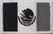 MEXICO FLAG Embroidered Iron-On PATCH MEXICAN Shoulder EMBLEM Black & Gray #456