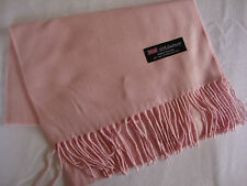 100% Cashmere Winter Scarf Scarve Scotland Warm Solid Light Pink Wrap Neck NEW