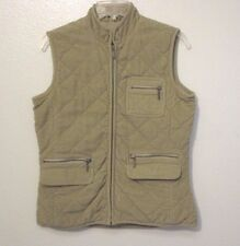 Eddie Bauer XS Beige Vest Cotton Corduroy Zip Front Quilted Pockets Insulated