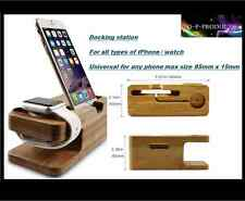BAMBOO Docking Station / Telefono Cradle / Iphone / Iwatch / UNIVERSAL / UK Shop
