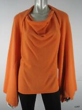 $1090 NWT ST JOHN P 100% Cashmere Orange Luxury Sleeveless Top Shrug Sweater NEW