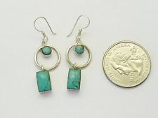 0.925 Tibetan Sterling Silver Earring Inlaid Turquoise D2 Handmade in Nepal