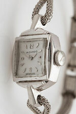 Antique 1940s RETRO MOVADO 14k White Gold Ladies Dress Watch RARE