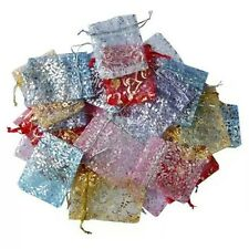 25 Organza Silky Jewellery Pouches String Bags 7cmX9cm For Gifts, Coins