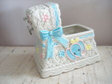 Musical Blue Elephant Crib Bassinette Figural Music Box Planter Works Napco