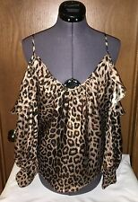 NEW NWT Parker leopard TOP cheetah ANIMAL PRINT blouse COLD shoulder RUFFLE S