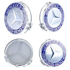 4x MERCEDES BENZ 75MM BLUE SILVER WHEEL RIM CENTER WHEEL HUB CAP GL450 GL550 ML