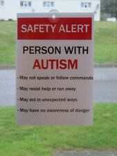 AUTISM SPECIAL NEEDS CAR AWARENESS SIGN NOTICES - Alerts emergency responders