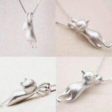 925 Sterling Silver Charm Running Cat Animal Pendant Necklace Chain Jewelry Gift