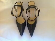 ANNE KLEIN BLACK LEATHER HIGH HEEL ANKLE WRAP PUMPS Size 6.5 Womens Shoes