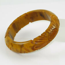 Vintage Bakelite Bracelet Bangle rare floral deep carved banana brown marble