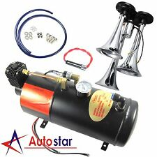 3-Trumpet Train Air Horn Kit 150 PSI 150db Air System With 12V Air Compressor
