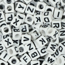 Wholesale 500pcs Mixed Square Cube Acrylic Alphabet Letter Spacer Beads 6x6mm