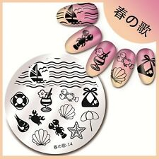 Harunouta-14 Round Nail Art Stamping Image Plate Summer Ocean Design Template