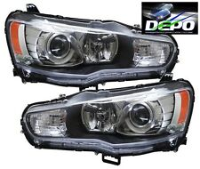2008-2015 Lancer GTS Black Projector Head Lights Evolution Evo X Halogen DEPO
