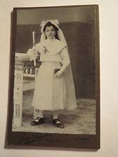 Schwaz - Tirol - stehendes Mädchen im Kleid & Kerze - Kommunion - Portrait / CDV