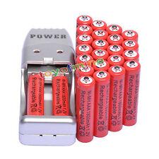 24X Batería recargable NiMH AAA 3A 1800mah 1.2V rojo color+ Cargador USB