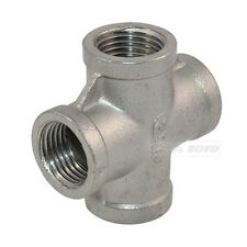 "3/8"" Threaded 4 Way Female Cross Coupling Connector SS 304 Pipe Fitting NPT NEW"