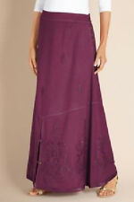 Soft Surroundings Petites Sydney Sandwashed Skirt in Fig, Size PS