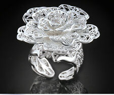 Engagement 1pcs silver Big Hollow Pattern Rose Flower Women's adjustable Ring