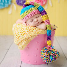 Newborn Baby Multi-colored Hat Cap Crochet Knitted Studio Photography Prop 2016