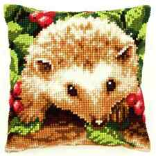 Hedgehog & Berries Large Holed Printed Tapestry Cushion Kit -Chunky Cross Stitch