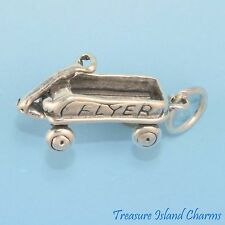 KIDS' CHILDREN'S TOY RADIO FLYER STYLE WAGON 3D .925 Solid Sterling Silver Charm