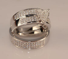 Men & Ladies White Gold Finish Trio Set Wedding Engagement Rings  L6 m 9