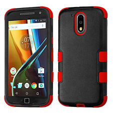 For Motorola Moto G4 / G4 PLUS - HARD & SOFT RUBBER HYBRID CASE RED BLACK ARMOR