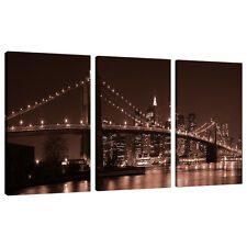 3 Panel Brown Wall Art New York City Canvas Pictures NYC Bridges 3122