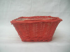SMALL PINK CANE PLANTER BASKET