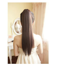 Fashion Women Girls Long Straight Tail Hair Cosplay Brown Ponytail Wig