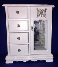 WHITE WOODEN JEWELRY BOX WITH BUTTERFLY ETCHED GLASS DOOR