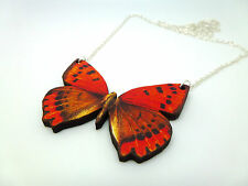 BEAUTIFUL VIBRANT RED & BROWN WOODEN BUTTERFLY SILVER NECKLACE PENDANT
