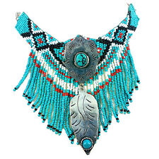 Vintage Native Indian Beaded Turquoise Necklace
