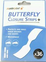 36 x Waterproof Butterfly Closure Strip Plasters Assorted Plaster Kit First Aid