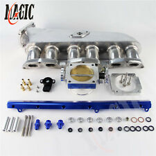 Intake Manifold + Fuel Rail + 90mm Throttle Body W/ TPS For Toyota 1JZ-GTE Blue