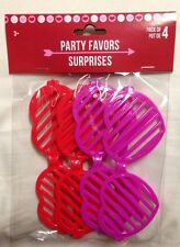 4 Pc Valentine's Day Heart Shaped Slotted Sunglasses Red Pink Party Favors Gifts