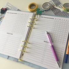 A5 Planner Insert Filofax Kikkik Punched Cleaning Task Tracker Week 12 Pieces